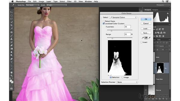 Fixing the color of the wedding dress: Retouching Bridal Portraits with Photoshop