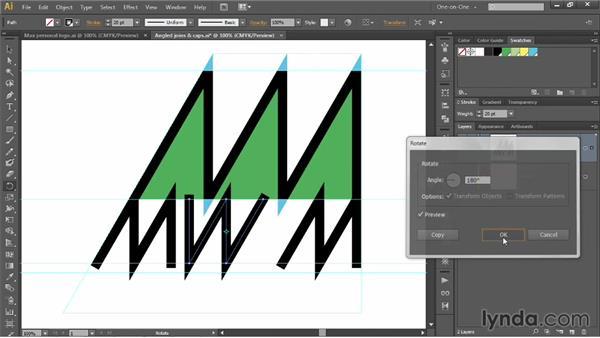 Precisely aligning angled logo artwork: Illustrator CC 2013 One-on-One: Mastery
