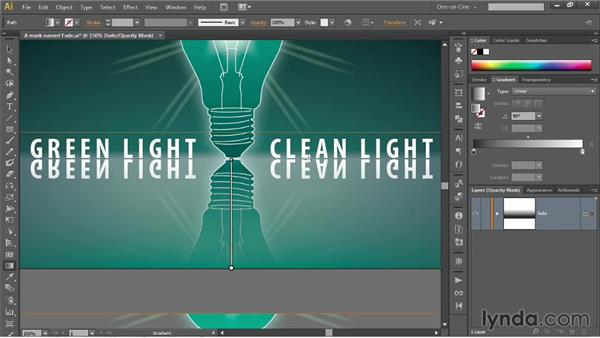 Fading artwork with a gradient opacity mask: Illustrator CC 2013 One-on-One: Mastery