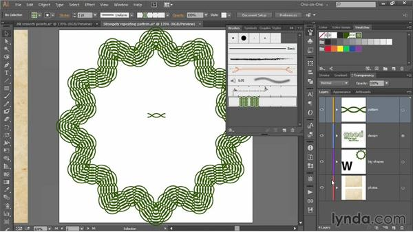 Correcting a repeating pattern brush: Illustrator CC 2013 One-on-One: Mastery