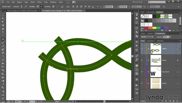 Adding an angled loop to a corner design: Illustrator CC 2013 One-on-One: Mastery