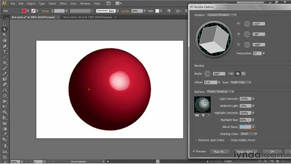 Assigning and editing a 3D Revolve effect: Illustrator CC 2013 One-on-One: Mastery