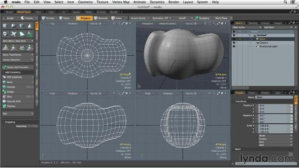 Using basic polygonal editing tools: MODO 701 Essential Training