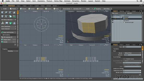 Building complex surfaces with SubDs: MODO 701 Essential Training