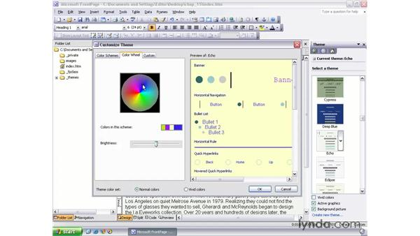 modifying theme colors: FrontPage 2003 Essential Training