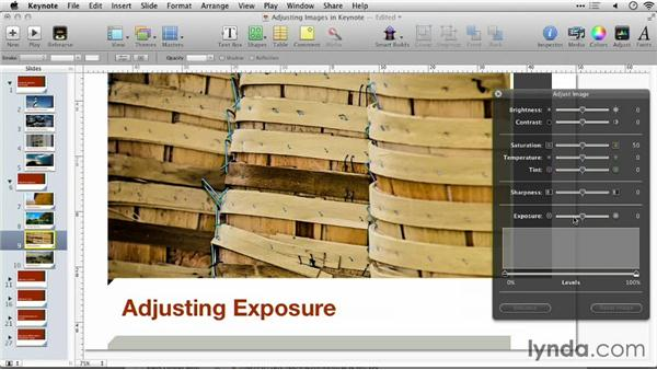 Adjusting exposure: Keynote: Using Photos and Videos Effectively for Great Presentations