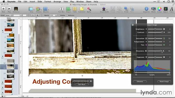 Adjusting contrast: Keynote: Using Photos and Videos Effectively for Great Presentations