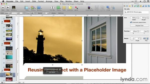 Reusing an effect with a placeholder image: Keynote: Using Photos and Videos Effectively for Great Presentations