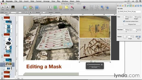 Editing a mask: Keynote: Using Photos and Videos Effectively for Great Presentations