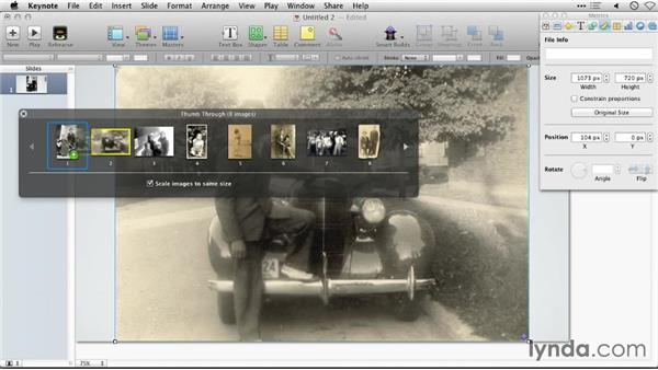 Rearranging images: Keynote: Using Photos and Videos Effectively for Great Presentations