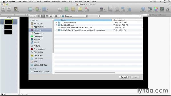 Adding a video file: Keynote: Using Photos and Videos Effectively for Great Presentations
