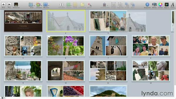 Rearranging slides in Light Table view: Keynote: Using Photos and Videos Effectively for Great Presentations
