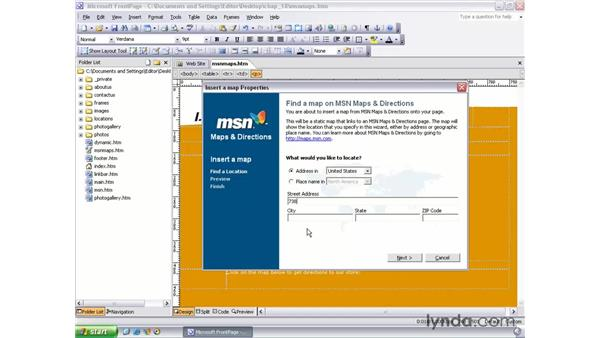 MSN map component: FrontPage 2003 Essential Training