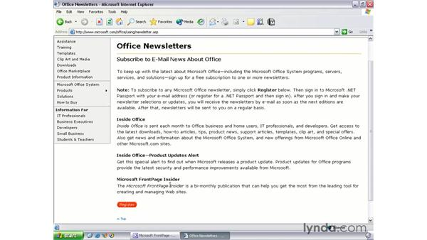 FrontPage newsletter: FrontPage 2003 Essential Training