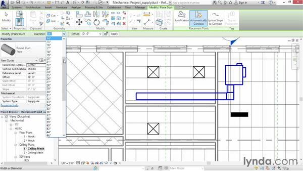 Adding supply duct: Revit MEP 2014 Essential Training
