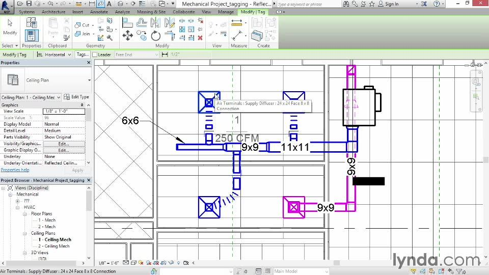 tagging duct from the course revit mep 2014 essential training. Black Bedroom Furniture Sets. Home Design Ideas