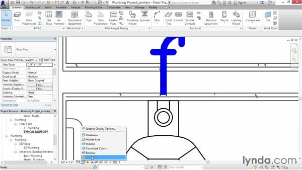 Adding sanitary sloped piping: Revit MEP 2014 Essential Training