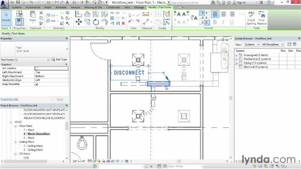 Working with text: Revit MEP 2014 Essential Training