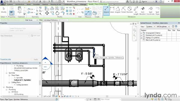 Working with dimensions: Revit MEP 2014 Essential Training