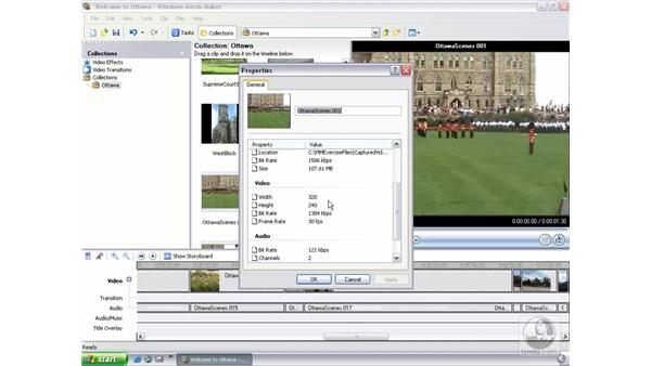 viewing and editing clip properties: Learning Windows Movie Maker 2