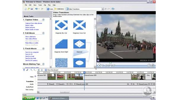 adding, removing, and editing transitions: Learning Windows Movie Maker 2