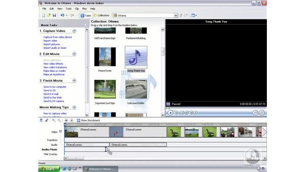 adding background music: Learning Windows Movie Maker 2