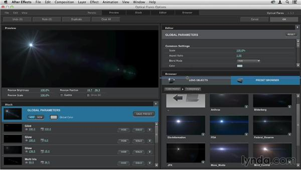 Exploring the plugin: Up and Running with Optical Flares