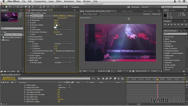 Adding flicker and shimmer: Up and Running with Optical Flares