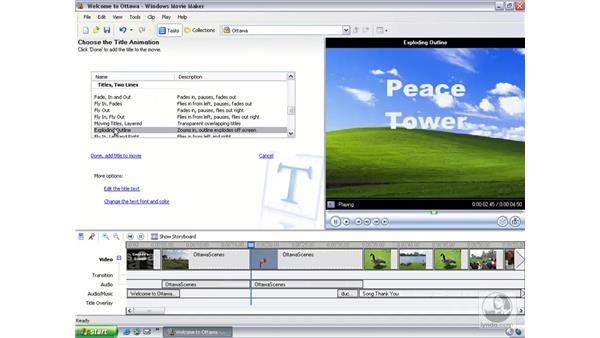 creating, inserting, and overlaying title slides: Learning Windows Movie Maker 2