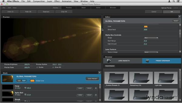 Using the virtual matte box: Up and Running with Optical Flares