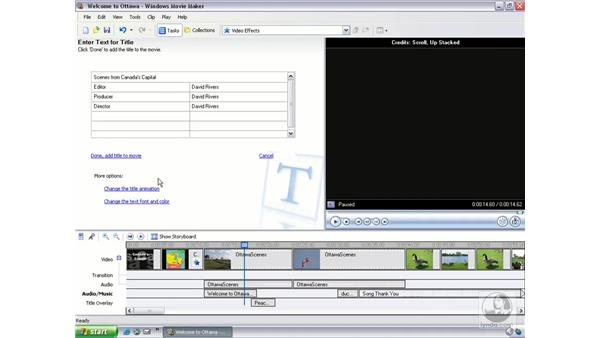 inserting credits: Learning Windows Movie Maker 2