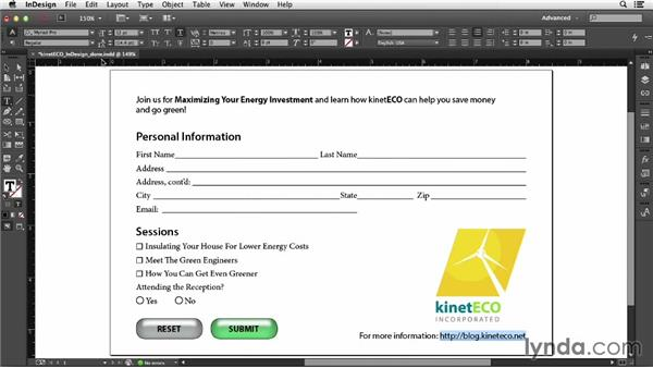Exporting PDFs from InDesign: Acrobat XI: Creating Forms