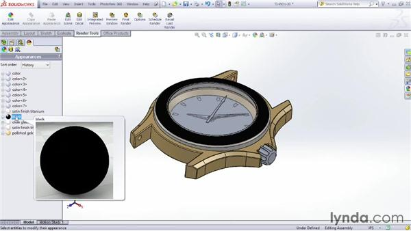 Applying appearances: SOLIDWORKS Rendering with PhotoView 360