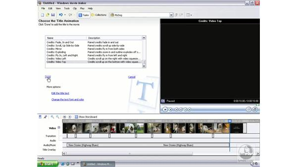 adding final touches: Learning Windows Movie Maker 2