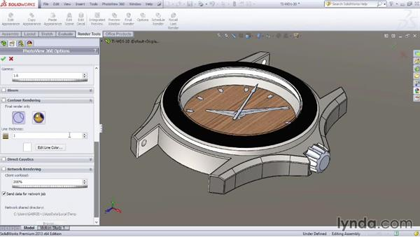 Using the Options panel: SOLIDWORKS Rendering with PhotoView 360