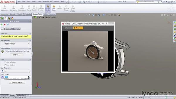 Making scene adjustments: SOLIDWORKS Rendering with PhotoView 360