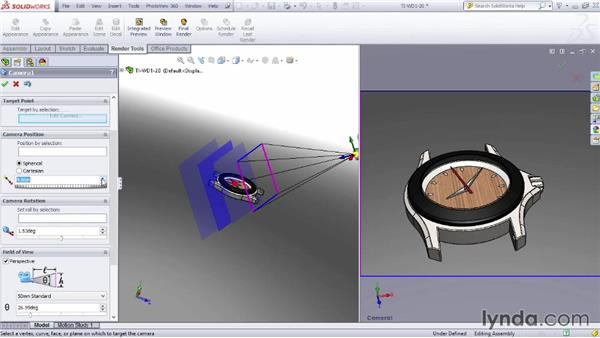 Positioning the camera: SOLIDWORKS Rendering with PhotoView 360