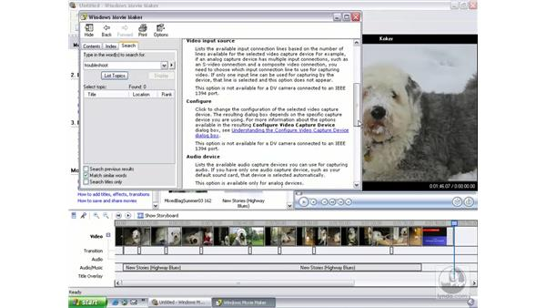 help from the task pane: Learning Windows Movie Maker 2