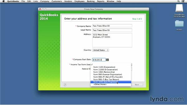 Setting up a new company file: QuickBooks for Mac Essential Training