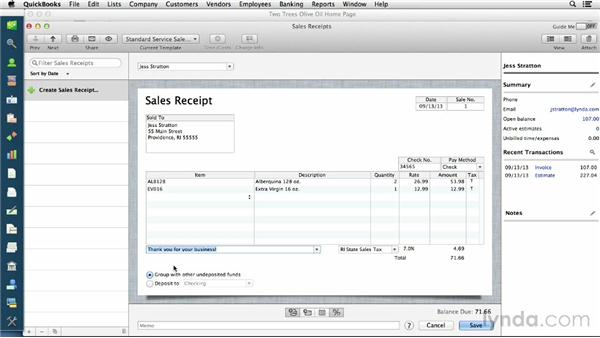 Creating sales receipts for cash sales – Cash Sale Receipt