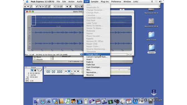 post-processing audio using Peak for levels: DVD Studio Pro 3 Essential Training