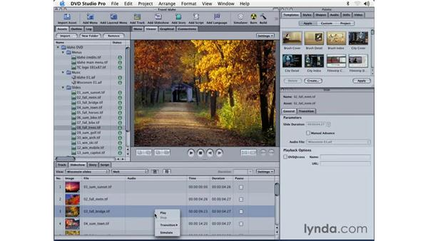 adding transitions: DVD Studio Pro 3 Essential Training