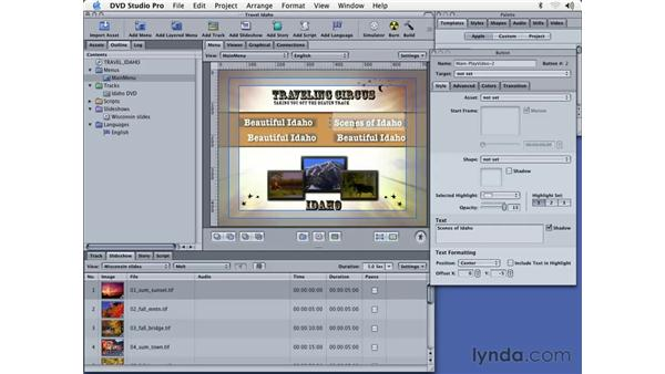 creating a menu and links: DVD Studio Pro 3 Essential Training