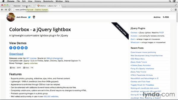 Changing Colorbox options: jQuery for Web Designers  (2013)