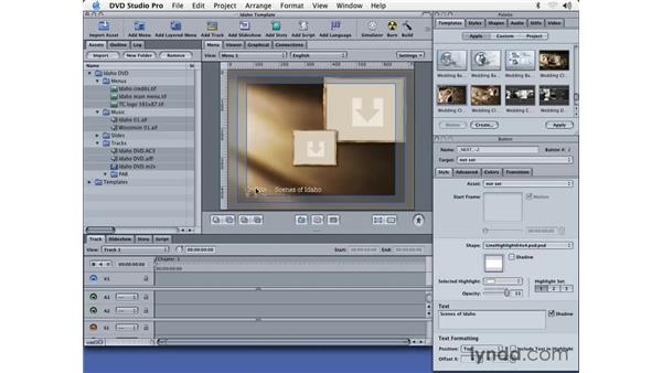 creating a menu from a template: DVD Studio Pro 3 Essential Training