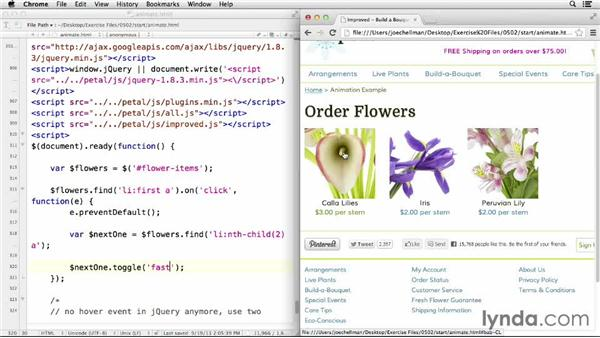 Creating simple jQuery animations: jQuery for Web Designers  (2013)