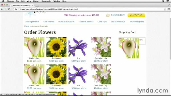 Putting it together: Flowers in the cart: jQuery for Web Designers  (2013)