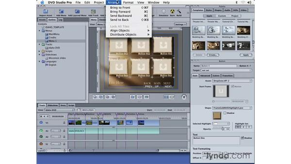 creating a chapter index from a template: DVD Studio Pro 3 Essential Training