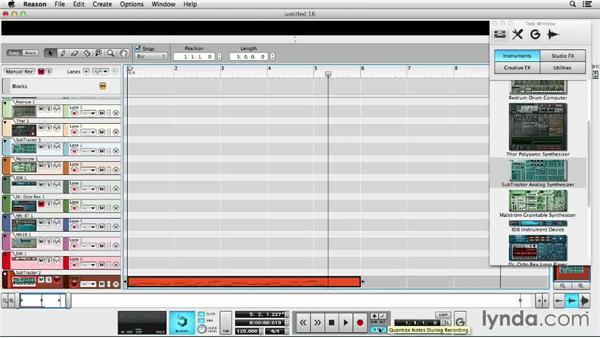 Recording software tracks: Up and Running with Reason 7