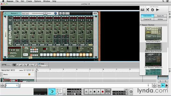 Creating drum beats with Redrum Drum Computer: Up and Running with Reason 7